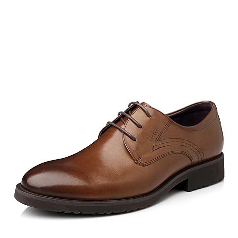 Tata/他她秋季棕色时尚商务休闲牛皮男鞋W3610CM4