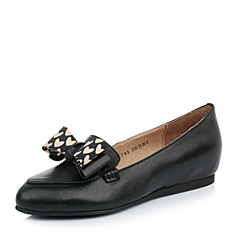 Tata/他她 春季专柜同款 女士黑色绵羊皮/深兰印花布女皮鞋2XF45AQ4