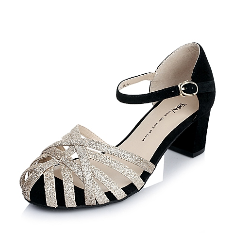 Tata/他她夏季专柜同款黑羊绒面皮/黄金布女凉鞋2E713BL4