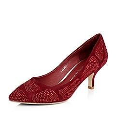 Tata/他她酒红色羊绒秋季J4320CQ4女单鞋