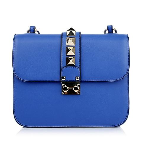 Tata/他她春季蓝色PU配铆钉装饰单肩斜挎手袋11119AX5