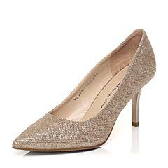 Tata/他她春季专柜同款金色亮片布浅口女单鞋2V905AQ5