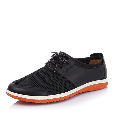 Tata/他她夏季黑色时尚休闲男皮鞋B111ABM5