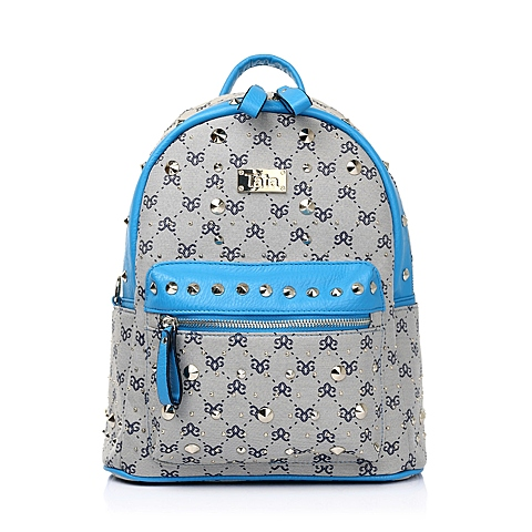 Tata/他她年夏季蓝色织物/PU女双肩包都市OL时尚女包0887ABX5