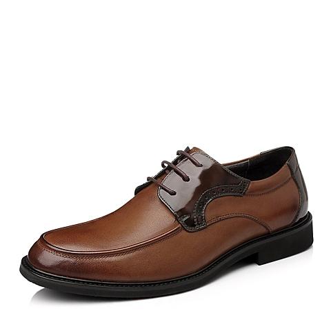 Tata/他她秋季棕色时尚舒适休闲牛皮男皮鞋A5561CM5