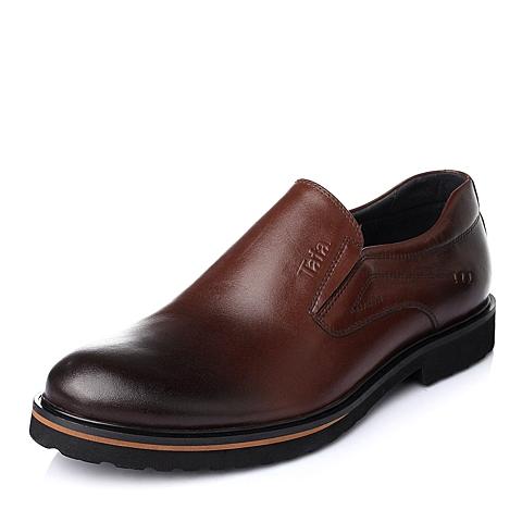 Tata/他她秋季棕色牛皮商务正装男单鞋A7223CM5