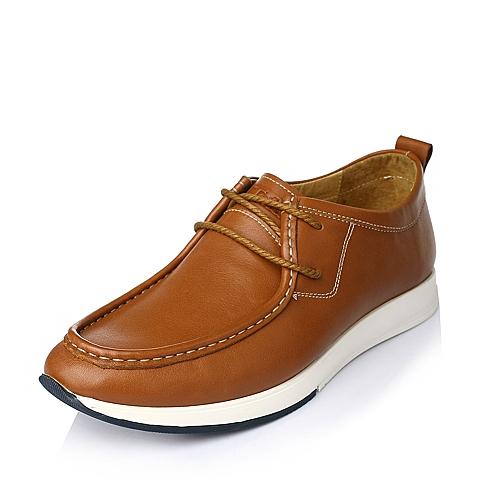 Tata/他她秋季黄棕色时尚休闲牛皮男皮鞋J1536CM5