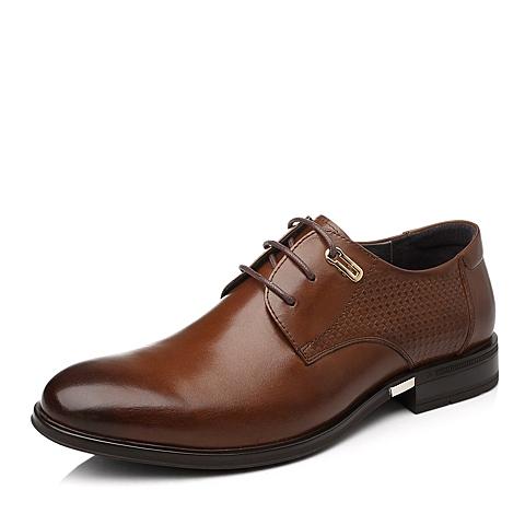 Tata/他她秋季棕色时尚商务正装牛皮男皮鞋OK021CM5