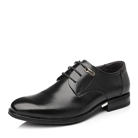 Tata/他她秋季黑色时尚商务正装牛皮男皮鞋OK021CM5