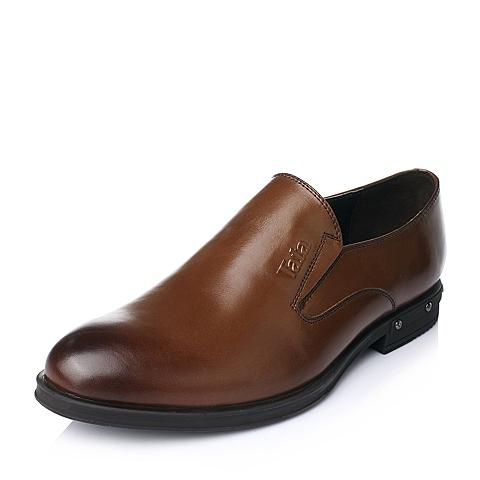 Tata/他她秋季棕色时尚商务正装牛皮男皮鞋H2320CM5