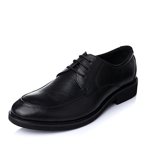 Tata/他她秋季黑色牛皮时尚都市商务精英男皮鞋D8716CM5