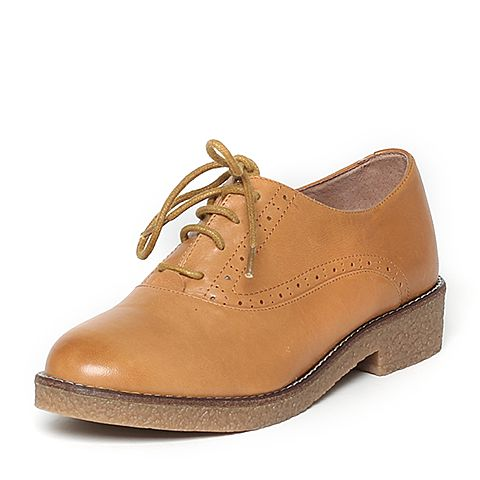 Tata/他她秋季专柜同款棕色羊皮女休闲鞋2I2A5CM5