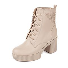 Tata/他她冬季专柜同款米色时尚活力牛皮女靴2XD47DD5