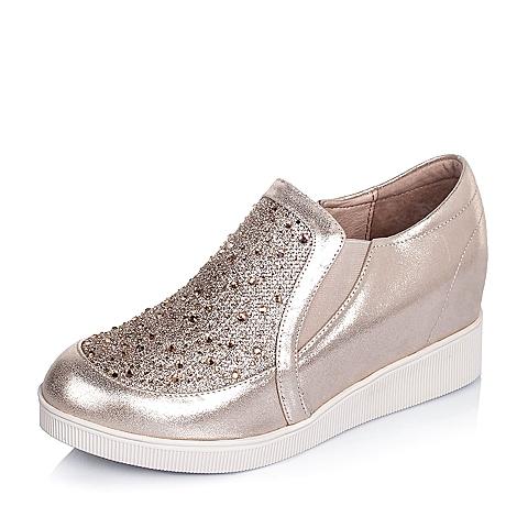 Tata/他她秋季专柜同款贴膜牛皮时尚休闲女单鞋2C422CM5