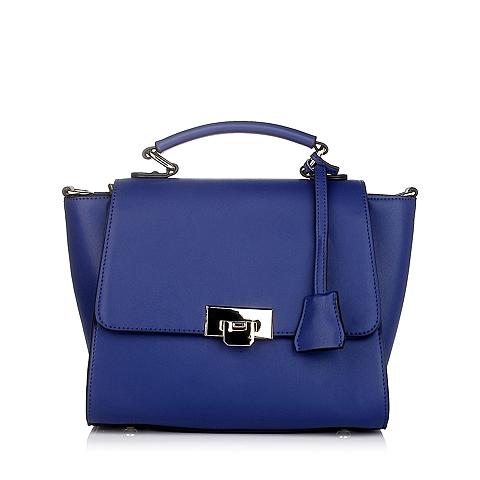 Tata/他她蓝色细纹牛剖层皮革手袋Y8585DX5
