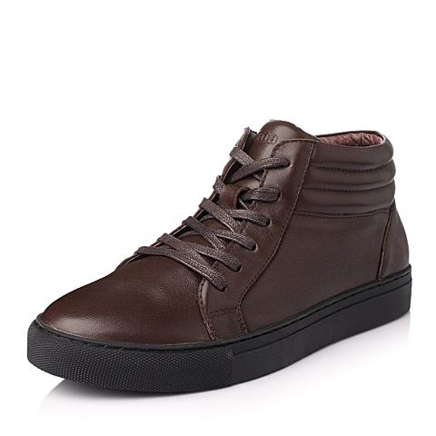 Tata/他她冬季啡色时尚舒适打蜡牛皮男休闲靴H8070DD5