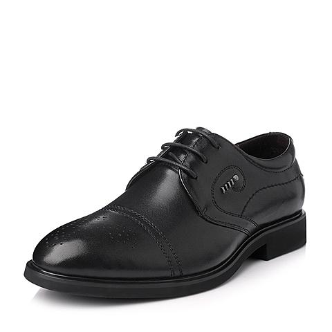 Tata/他她冬季黑色牛皮商务正装男单鞋06110DM5
