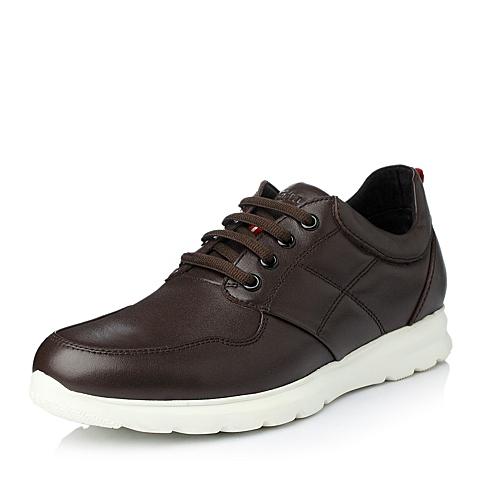 Tata/他她冬季啡色牛皮时尚休闲男单鞋Y5905DM5