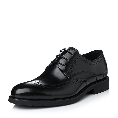 Tata/他她冬季黑色小牛皮男单鞋A0050DM5