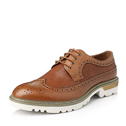 Tata/他她冬季棕色牛皮男单鞋C1553DM5
