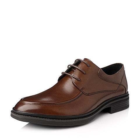 Tata/他她冬季棕色牛皮男单鞋W8613DM5