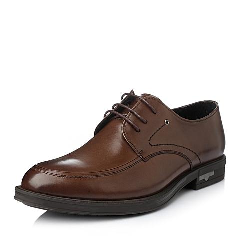 Tata/他她冬季棕色牛皮商务时尚男单鞋H6100DM5