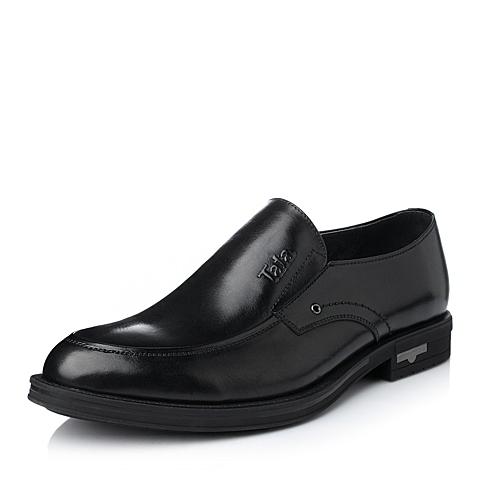 Tata/他她冬季黑色牛皮商务时尚男单鞋H6000DM5