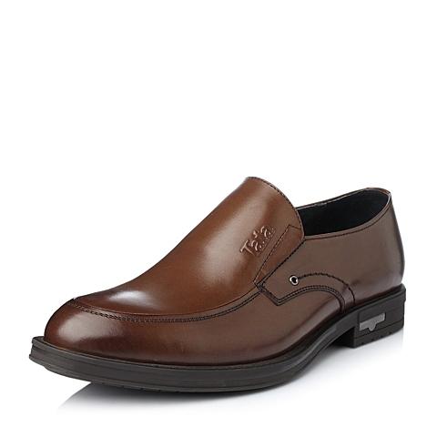 Tata/他她冬季棕色牛皮商务时尚男单鞋H6000DM5