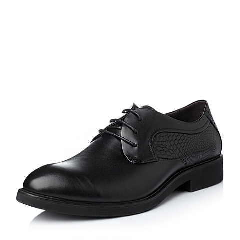 Tata/他她冬季黑色牛皮男单鞋FA890DM5
