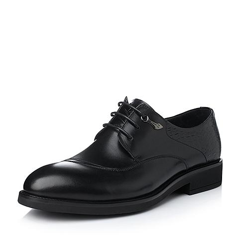 Tata/他她冬季黑色打蜡牛皮男单鞋10320DM5