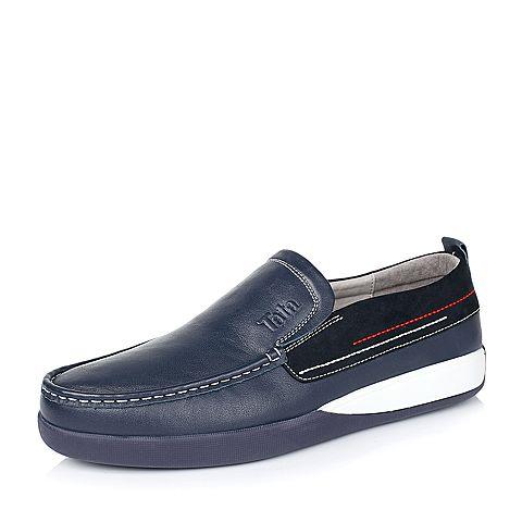 Tata/他她秋季专柜同款宝蓝色牛皮男单鞋V356DCM5