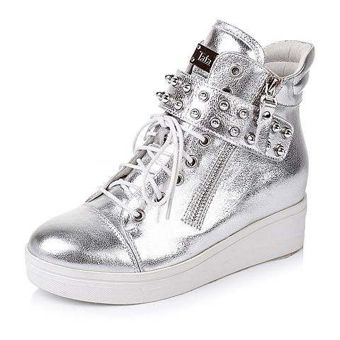 Tata/他她秋季专柜同款银色羊皮女靴2V303CD5