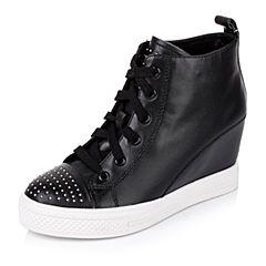 Tata/他她秋季专柜同款黑色牛皮女靴V318DCD5