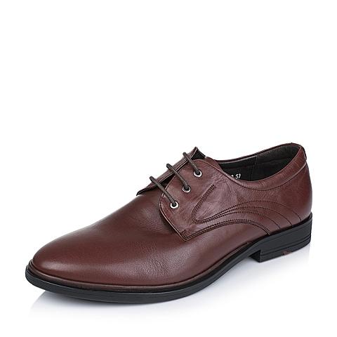 Tata/他她秋季专柜同款棕色牛皮男单鞋V3575CM5