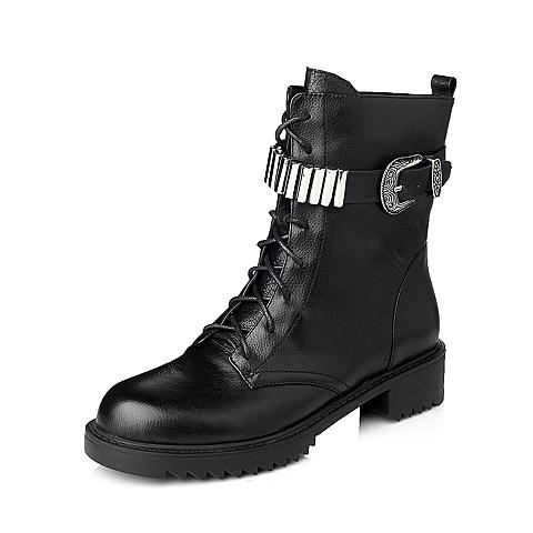 Tata/他她年冬季黑色时尚荔纹牛皮革女靴2D369DZ5