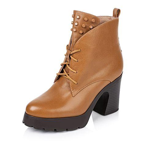 Tata/他她冬季专柜同款棕色牛皮女靴2I541DD5