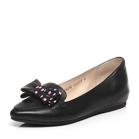 Tata/他她春季专柜同款黑绵羊皮内增高女单鞋2R806AQ6