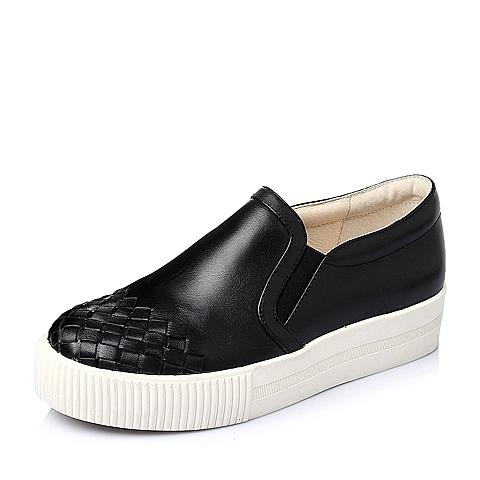 Tata/他她春季专柜同款黑色小牛皮女单鞋2KE20AM6