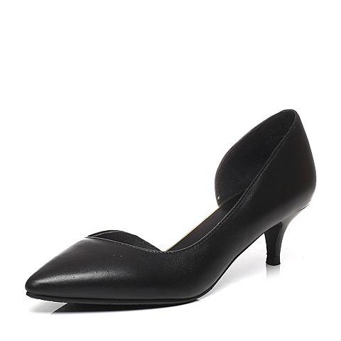 Tata/他她春专柜同款黑色小牛皮时尚潮流中跟女皮凉鞋2NC02AK6