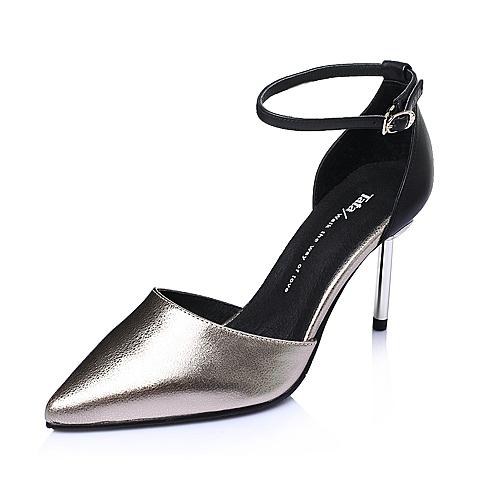 Tata/他她春季金色小牛皮高跟优雅时尚女凉鞋2NH04AK6