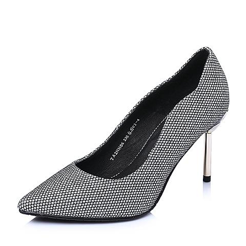 Tata/他她春季银黑贴网亮片布优雅细跟高跟浅口女单鞋2NH06AQ6