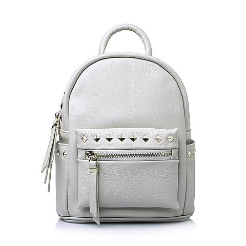 Tata/他她春季白色牛剖层皮革时尚休闲女手袋Y8631AX6