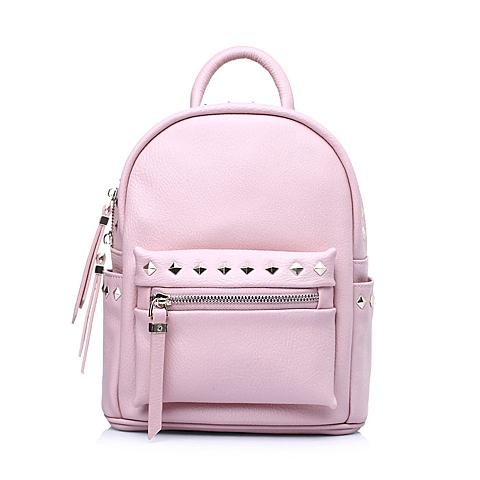 Tata/他她春季粉色牛剖层皮革时尚休闲女手袋Y8631AX6