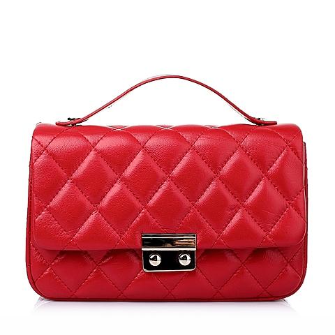 Tata/他她春季红色绣线羊皮革手袋Y8624AX6
