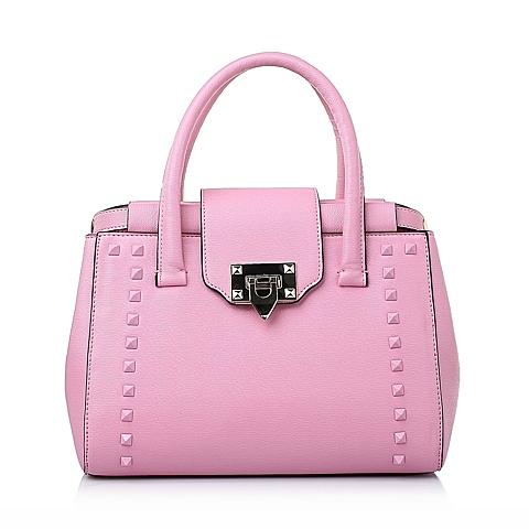 Tata/他她春季粉红色时尚十字纹人造革手袋8032DAX6