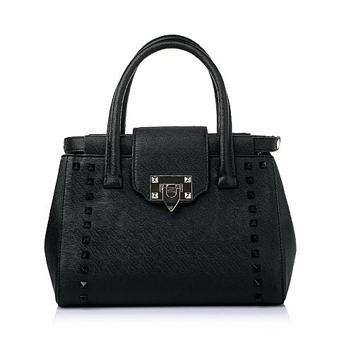 Tata/他她春季黑色时尚十字纹人造革手袋8032DAX6