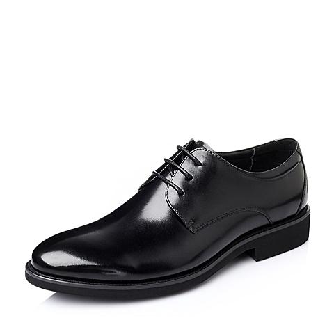 Tata/他她2016春季黑色时尚商务休闲牛皮革男单鞋DH106AM6