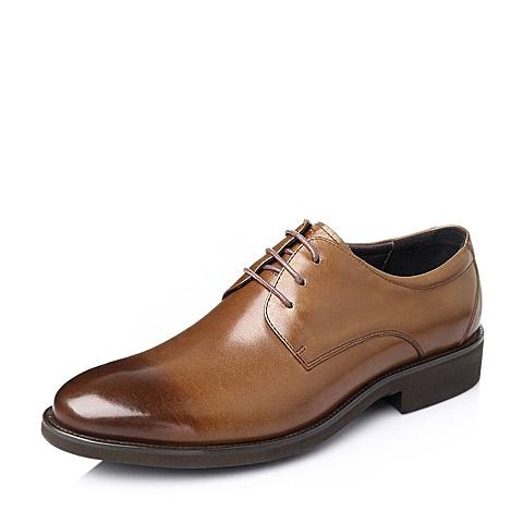 Tata/他她2016春季棕色时尚商务休闲牛皮革男单鞋DH106AM6