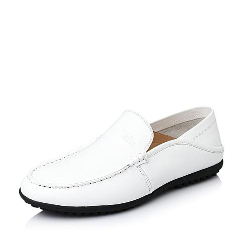 Tata/他她春季白色时尚舒适牛皮革男休闲鞋YJH02AM6