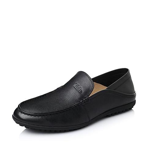 Tata/他她2016春季黑色时尚舒适牛皮革男休闲鞋YJH02AM6